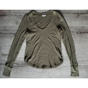 SPLENDID | Olive Thermal Long Sleeve Knit Shirt